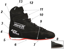AXV3000 racing boots technical data